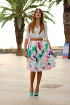 Choies skirt - Zara heels - Sheinside blouse