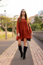 Zara boots - Sheinside dress - Mango earrings
