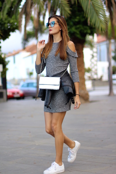shein dress - Guess bag - Fendi sunglasses - Adidas sneakers