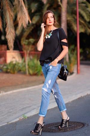 stuart weitzman heels - Mango jeans - shein blouse