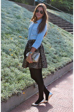 light blue Stradivarius shirt - yellow BLANCO bag - yellow Zara flats