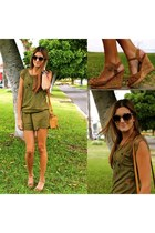 olive green BLANCO dress - mustard natura bag - light brown Refresh wedges