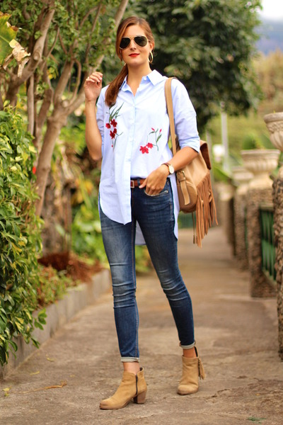 shein blouse - itshoes boots - Zara jeans