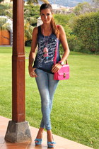 hot pink BLANCO bag - light blue s&e shoes - blue Stradivarius jeans