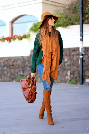 Zara boots - Sheinside sweater - Mango scarf - Chloe bag - Zara hair accessory