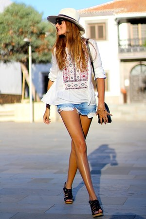 Zara shorts - PERSUNMALL bag - Ray Ban sunglasses - Zara sandals - c&a blouse