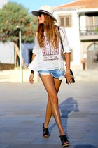 Zara shorts - PERSUNMALL bag - Ray Ban sunglasses - Zara sandals - c&a blouse