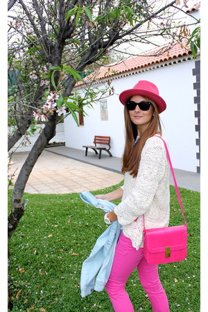 hot pink Bershka hat - sky blue Zara jacket - cream Massimo Dutti sweater