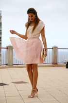 Choies skirt - Mango heels - Stradivarius t-shirt