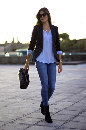 Zara blazer - Menbur shoes - Zara bag - Sheinside blouse