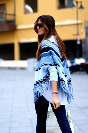 Stradivarius jeans - Fendi sunglasses - romwe cape