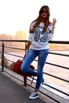 Stradivarius jeans - c&a sweater - Zara bag - Converse sneakers