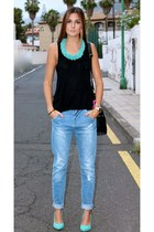 sky blue Zara jeans - turquoise blue Zara heels - black Easywear blouse