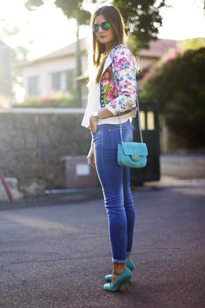 romwe jacket - Stradivarius jeans - Zara sunglasses - Zara heels