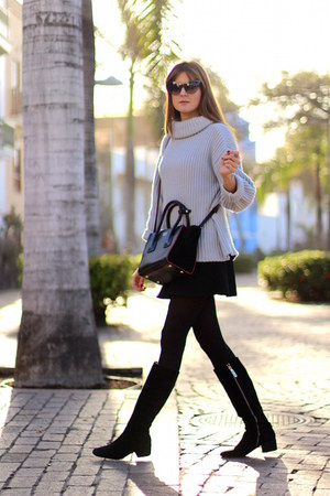 Zara boots - Sheinside sweater - Prada bag - Zara skirt