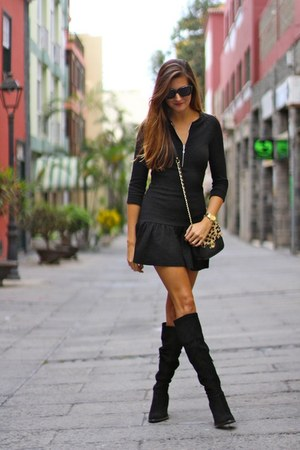 Zara boots - Zara dress - imperio clandestino bag