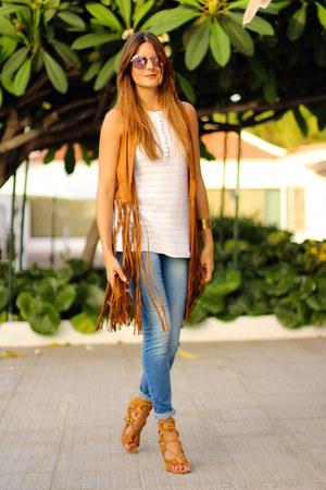 Stradivarius vest - Zara blouse - Choies heels