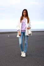 Zara coat - sammydress sweater - PERSUNMALL bag - Converse sneakers