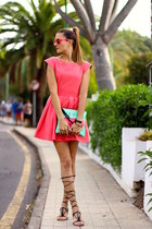 green bags bag - Zara dress - Skull Rider sunglasses - Mango sandals