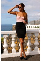 pink Guess top - black Bailly Bijoux shoes - black Guess skirt