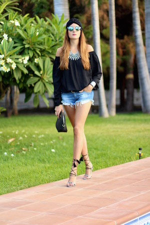 Zara shorts - christian dior sunglasses - Mango heels - Sheinside blouse