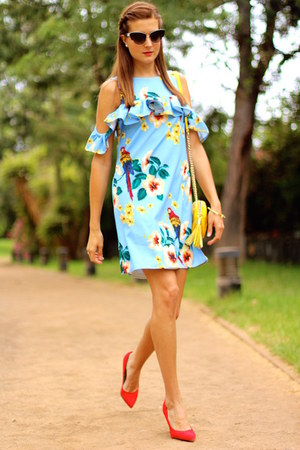 Sheinside dress - Dolce & Gabbana sunglasses - Bershka heels