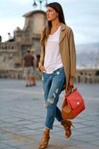 Sheinside coat - Mango jeans - Dolce & Gabbana bag - Zara t-shirt - Choies heels