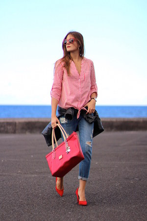 shirt shirt - Mango jeans - opticalh sunglasses - Bershka heels