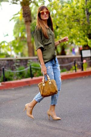 Fendi sunglasses - Zara jeans - Sheinside shirt - suiteblanco heels