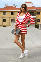 white traffic people dress - red Pierre Cardin belt - white Converse sneakers
