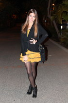 mustard H&M dress - black Stradivarius boots - black street level bag