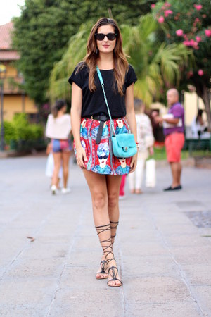romwe skirt - Mango sandals