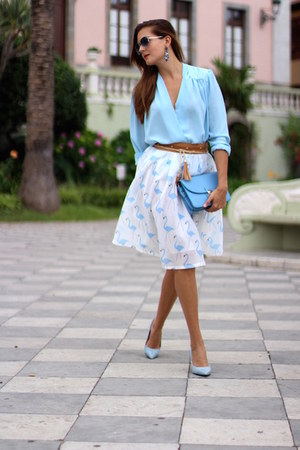 romwe skirt - Zara heels - TFNC blouse - Mango earrings