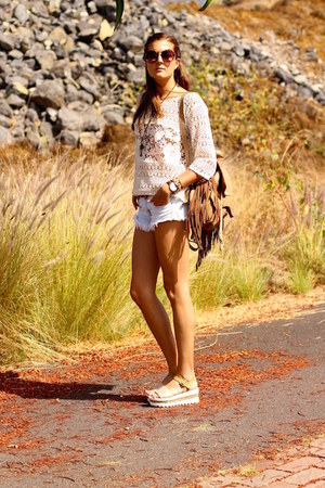 c&a shirt - IT shoes bag - Zara shorts - Mustang wedges