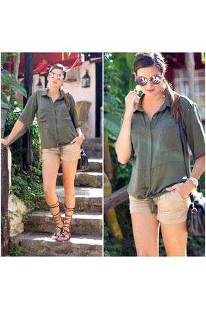 walktrendy shirt - Bershka shorts - Mango sandals