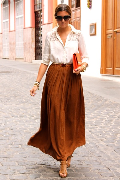 burnt orange Zara skirt - white BLANCO shirt - carrot orange H&amp;M bag