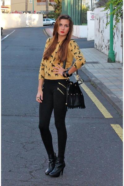 mustard romwe sweater - black Stradivarius boots - black Zara leggings