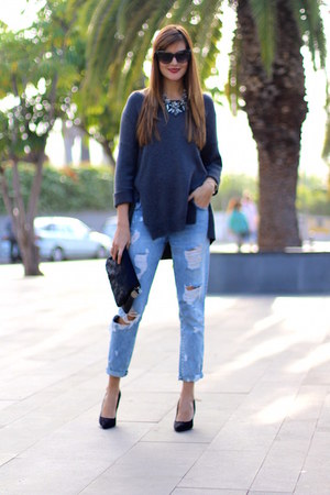 Zara jeans - suchn sweater - Mango sunglasses