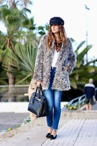 Sheinside coat - Stradivarius jeans - Choies hat - Sheinside blouse