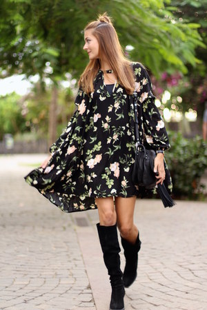 Zara boots - shein dress - ASH bag