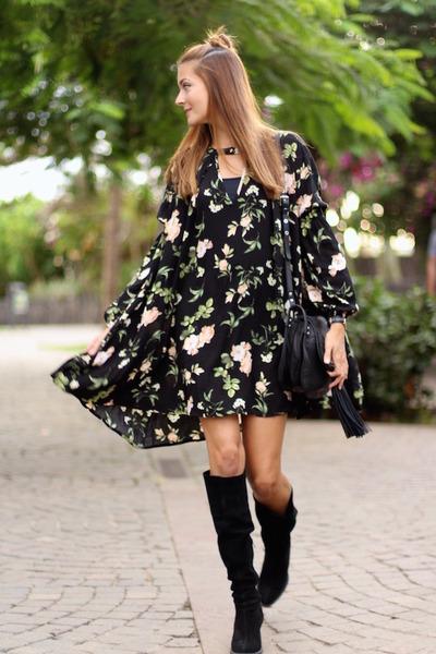 Zara boots - shein dress - ASH bag