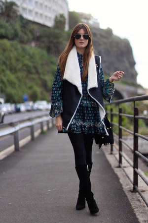 Sheinside vest - Zara boots - Sheinside dress