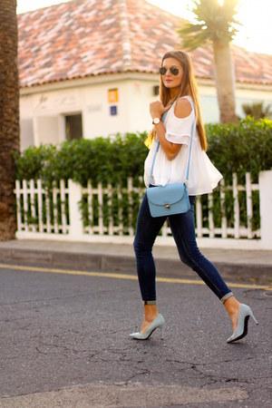 shein blouse - Zara jeans - Zara heels