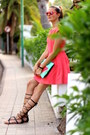 Zara-dress-green-bags-bag-skull-rider-sunglasses-mango-sandals