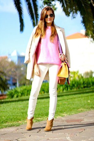 beige Sheinside coat - Zara sweater - imperio clandestino bag
