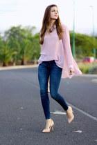 romwe blouse - Zara jeans - suiteblanco heels