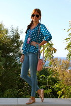 turquoise blue Zara blouse - bubble gum Guess bag