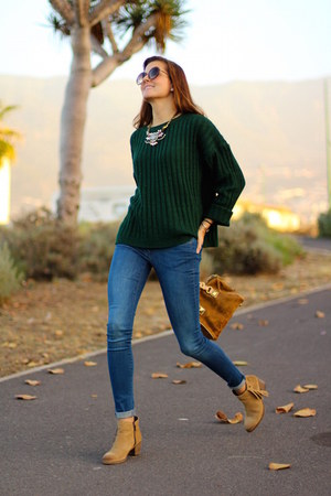 Sheinside sweater - istome boots - Zara jeans - Michael Kors bag