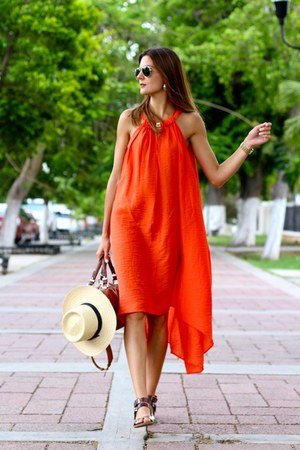 H&M dress - Zara bag - green coast sandals
