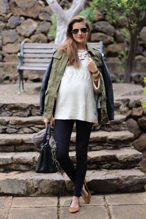 Stradivarius jacket - Sheinside sweater - H&M leggings - Zara flats